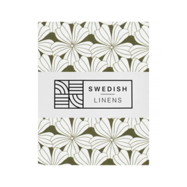 Swedish Linens FLOWERS Olive green 90x200 fitted sheet