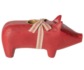 Maileg WOODEN PIG, MEDIUM - RED