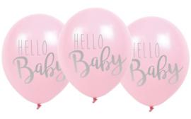 Jabadabado Balonnen Hello Baby 6 st roze