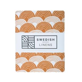 Swidish Linens RAINBOWS | Hoeslaken | 90x200cm | Cinnamon brown