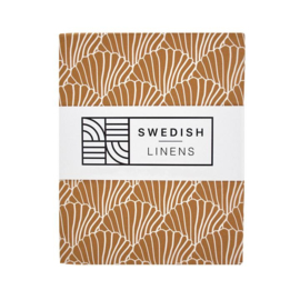 Swedish Linens Seashells Cinnamon brown tweepersoons 180x200cm