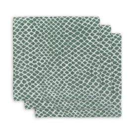 Jollein hydrofiel multidoek small (70x70cm)  snake ash green (3 pack)
