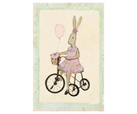 Maileg klein kaartje Rabbit meisje op haar fiets