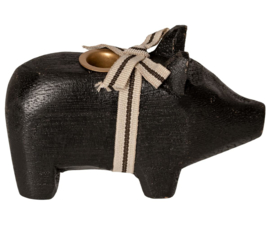 Maileg WOODEN PIG, SMALL - BLACK