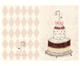Maileg Felicitatie ooievaar met baby, meisje, dubbele kaart