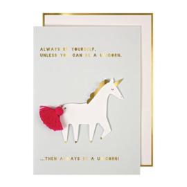Meri Meri Unicorn kaartje met kwastje