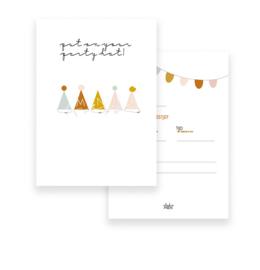 Mientje Frobel Anzichtkaart A6 uitnodiging Feesthoedjes