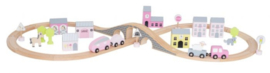 Jabadabado Houten snelweg met accessoires (roze)