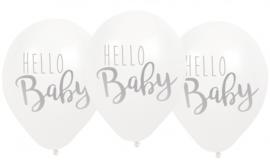 Jabadabado Balonnen Hello Baby 6 st wit
