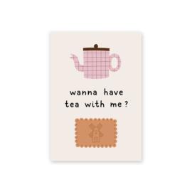Leonie van der Laan postkaart Wanna have tea with me?