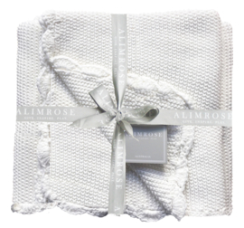 Alimrose KNIT MINI MOSS STITCH BLANKET 100% COTTON - IVORY 100CM X 100CM