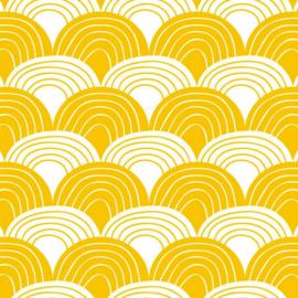 Swedish Linens RAINBOWS | Hoeslaken | 70x160cm | Mustard yellow