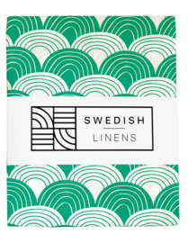 Swedish Linens RAINBOWS | Hoeslaken | 90x200cm | Pine green
