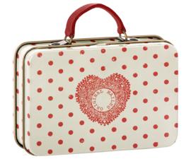 Maileg  metalen koffertje Cream, Coral Dots