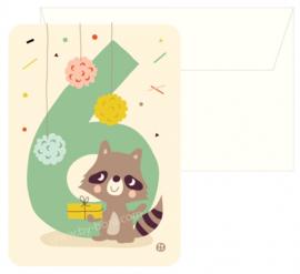 Bora Postkaart 6 jaar Raccoon