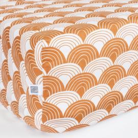 Swidish Linens RAINBOWS   Hoeslaken   90x200cm   Cinnamon brown