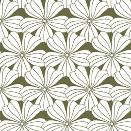 Swedish Linens FLOWERS Olive green 70x160 fitted sheet