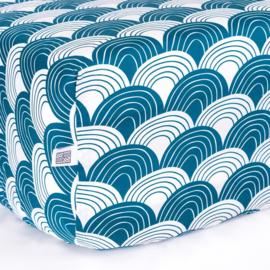 Swedish Linens RAINBOWS | Hoeslaken | 70x160cm | Moroccan blue