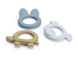 Dantoy Tiny BIOplastic bijringen set van 3 blauw geel assortiment