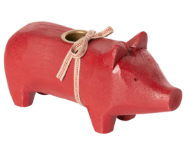 Maileg WOODEN PIG, MEDIUM - RED