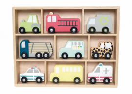 Jabadabado Houten voertuigen in kist (9-delig)