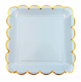 Jabadabado Kartonnen borden blauw/goud (8 st)