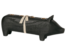 Maileg WOODEN PIG, LARGE - BLACK