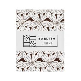 Swedish Linens FLOWERS Dark Chocolate 180x200 fitted sheet