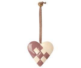 Maileg METAL ORNAMENT, BRAIDED HEART - DUSTY GRAPE