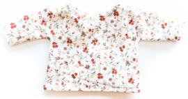 Nuki-Nuby poppenshirt gebroken wit met roest bloemetjes