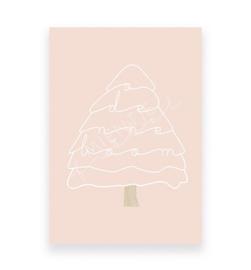 Mientje Frobel Anzichtkaart A6 Kerstboom roze
