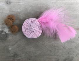 Pietenmuts roze met roze veer