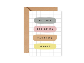 Leonie van der Laan dubbele kaart enveloppe Favorite people
