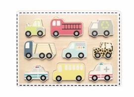 Jabadabado Houten puzzel voertuigen (9 stukjes)