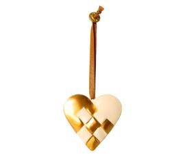 Maileg METAL ORNAMENT, BRAIDED HEART - GOLD
