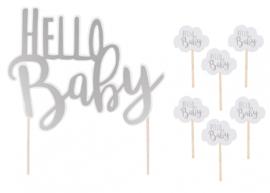 """Jabadabado Taartdecoratie """"Hello Baby"""""""