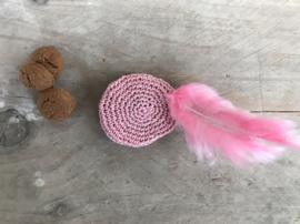 Pietenmuts poederroze roze veer