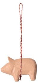 Maileg WOODEN PIG ORNAMENT PINK