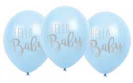 Jabadabado Balonnen Hello Baby 6 st blauw