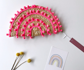 Kdootjes Summer Fashion Vrolijke Stro Handtas Pompons Neon Oranje Roze