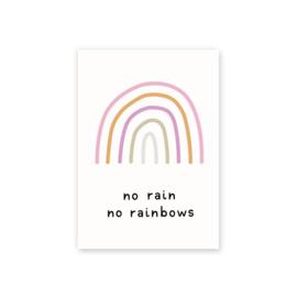 Leonie van der Laan postkaart No rain No rainbows
