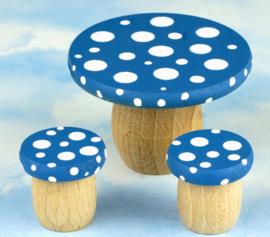 Droomdeurtjes droomtafeltje met 2 krukjes bosbessenblauw