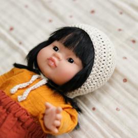 Nuki-Nuby poppen bonnet gehaakt creme
