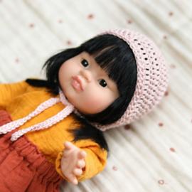 Nuki-Nuby poppen bonnet gehaakt roze