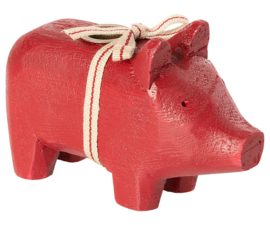 Maileg WOODEN PIG, SMALL - RED