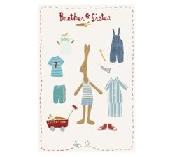 Maileg kaartje Rabbit jongen kleed zich aan