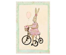 Maileg kaartje Rabbit meisje op haar fiets