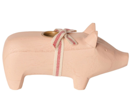 Maileg WOODEN PIG, MEDIUM - POWDER