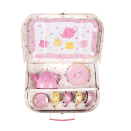 Sass & Belle HAPPY PICNIC BOX TEA SET - ROZE EN GEEL