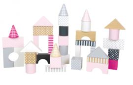 Jabadabado Houten bouwblokken (roze)